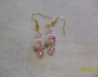 Breast Cancer Awareness Earrings with accent beads