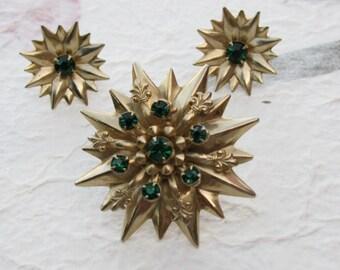 Starburst Brooch with Green Rhinestones and Fleur de lis