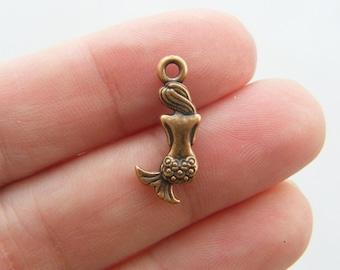 12 Mermaid charms antique copper tone