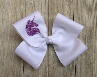 Hair Bow,Unicorn Hair Bow,Purple Sparkle Unicorn Bow,Unicorn Birthday Party,Alligator Clip Hair Bow,Personalized Hair Bow,White Hair Bow