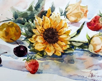 Still Life with Sunflower : Original Watercolor Painting