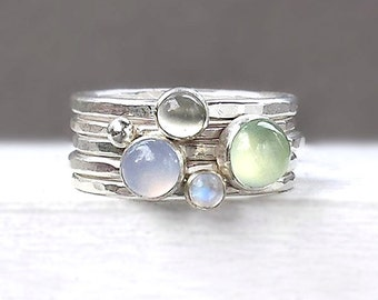 Stacking Silver Rings in Pastel  - Prehnite, Moonstone, Chalcedony - Hammered Silver Stackable Rings