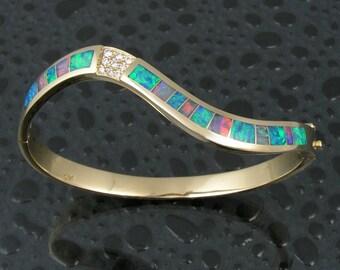 Australian opal bracelet with diamonds in 14k gold