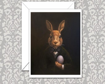 Easter Bunny Cards, Rabbit Note Cards, Anthropomorphic, Victorian, March Hare, Animal Portrait Cards,