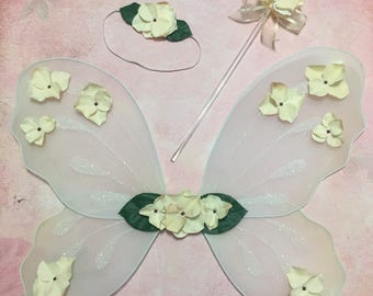 Ivory Flower Girl Accessories Fairy Wings Ivory Flower Wand Flower Headband Wedding Flowergirl Ivory Fairy Wings Floral Headband Fairy Wand
