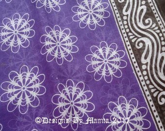 Daisy Print Fabric, Purple Floral Cotton, Floral Print Sari Fabric, Soft Cotton Saree Fabric By The Yard, Lightweight Indian Cotton Fabric