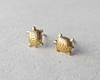 Turtle Earrings, Tiny Stud Earrings, Turtle Jewelry, Golden Brass Jewelry, Pet Animal Earrings, Sterling Silver Hypoallergenic Earring Studs