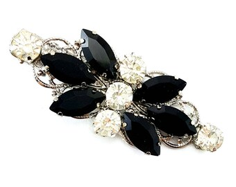 Black Rhinestone Hair Clip - Black Butterfly Crystal Clip, Black Alligator Clip, Black Hair Accessories Prom Homecoming