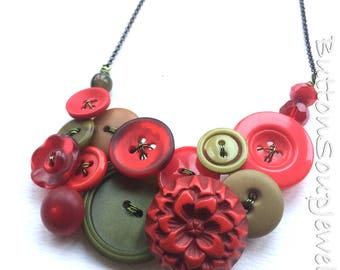 Big Chunky Necklace with Shades of Red and Olive Green Vintage Buttons Necklace
