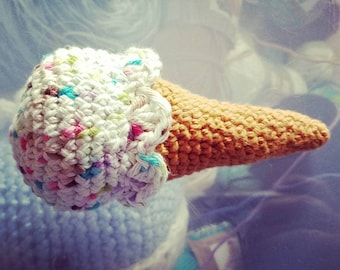 Ice Cream Cone, crochet food, pretend play, pretend food, ice cream, ice cream crochet, play food, gift for kids, Baby Shower, Easter basket