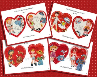Retro Valentine Paper Doll Hearts Digital Collage C-523 for Scrapbooking, Tags, Cards, Altered Art, Set of 8  on 4 Sheets