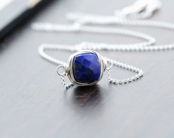 Lapis Lazuli Necklace in Sterling SIlver , Bezel Wrapped Gemstone Jewelry , Navy Blue Modern Minimalist Fashion