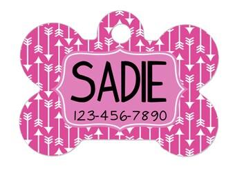 Personalized Dog Name Tag - Dog ID Tag - Pink Arrow Custom Dog Collar Tag - Dog Tag Geometric Pattern