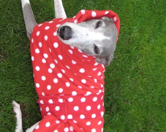 Greyhound Coat Fleece Red with White Spots