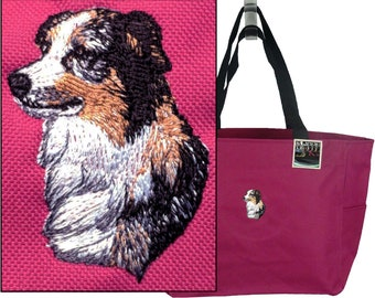 Australian Shepherd Dog Essential Zippered Tote Show Dog Doggy Daycare Pet Bag + Name Custom Embroidered