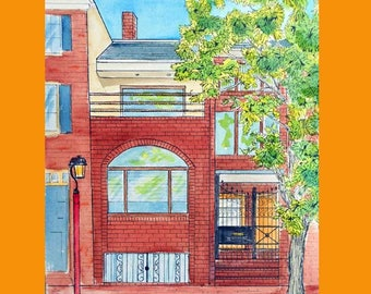 Custom House Portrait Watercolor and Ink Painting, Philadelphia area artist