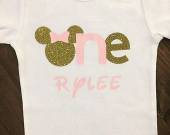Bowtique Inspired Birthday Baby Bodysuit Pink and Gold Glitter
