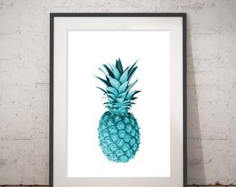 Blue Pineapple wall art print decor wall Ananas kitchen art print Office turquoise blue art work Tropical ananas printable poster