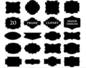 Black Frames Clipart Frames Clip Art Border Label Digital Frames Scrapbooking Dotted Lines Wedding Invitations Party Logo Design Doodle