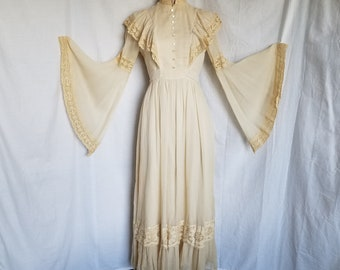 Vintage 1970's Prairie Dress by Candi Jones Full Length Long Wedding Edwardian Boho Dress sz Small / 2