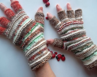 Women Size L 20% OFF Half Fingers Fingered Ready To Ship Mittens Wrist Warmers Gloves Winter Unisex Hand Knitted Gift Multicolor Striped 76