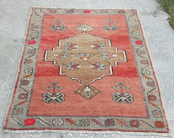 Vintage Oushak Rug, Turkish Rug,Turkish Oushak Rug,Oushak Rug,Wool on Rug,Vintage Rug,Knotted Rug,Rugs,Area Rug,2'9×3'9feet-91×119 cm