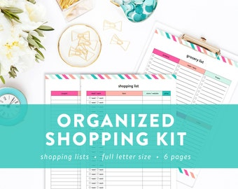 Organized Shopping Kit - Printable Shopping Lists, and Online Username and Passwords Tracker - INSTANT DOWNLOAD