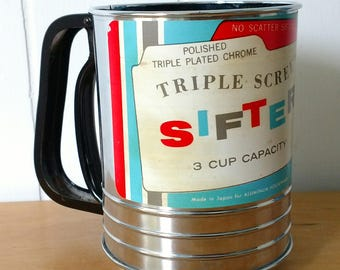 vintage chrome triple sift sifter 3 cup