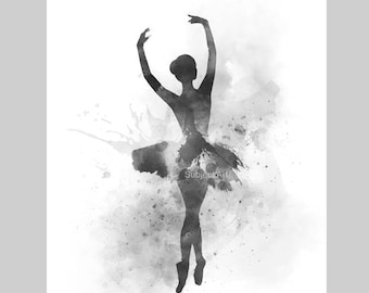 Ballerina 2 ART PRINT illustration, Black and White, Ballet Dancer, Dance, Wall Art, Home Decor, Gift