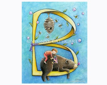 Alphabet B, letter B art, baby initial print, nursery alphabet art, monogram for nursery, wall letter print, bear art, childrens wall art