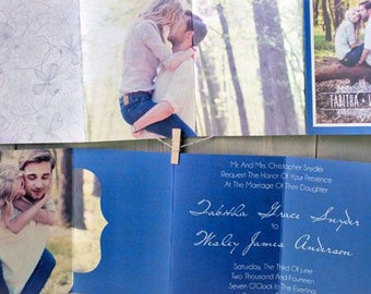 4x5.5 Accordion Fold Die Cut Wedding Invitation Announcement and RSVP Cards