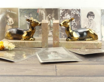 Bookends Art Deco - animals - deer - Mr. make bookends - marble - Art Deco - french - old bookends