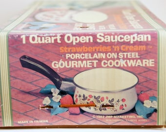 Vintage Enamel Cookware, Strawberries and Cream, Sheffield Sauce Pan, NOS Quart Pan, Unused in Box, Strawberry Kitchen Decor