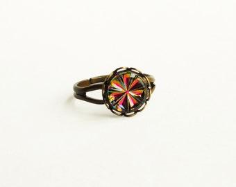 Rainbow Ring Small Iridescent Ring Pink Crystal Ring Vitrail Medium Adjustable Ring Hot Pink Vintage AB Crystal