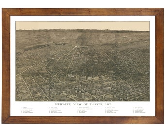 Denver, CO 1887 Bird's Eye View; 24x36 Print from a Vintage Lithograph