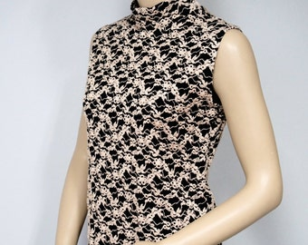 Vintage Blouse Shell Black Embroidered Sleeveless High Neck Stretchy Knit Black and Gold Women's Top Size Medium