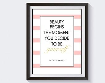 "Office Wall Art, Printable Wall Art, Chanel Quote, Wall Art, 8x10"" PRINTABLE"