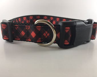 Red & Black Buffalo Plaid Dog Collar/Leash