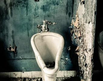 Abandoned Stall, Urban Exploration, Old Bathroom, Urinal, Decaying Building, Forgotten Places, Bathroom Decor, Free Shipping