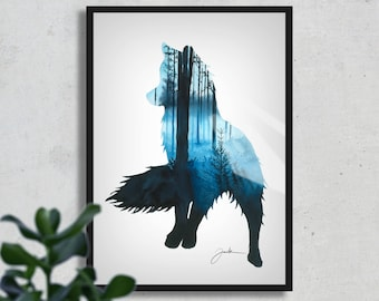 Forest Fox, FINE ART PRINT, Aquarelle Painting, Nature, Blue