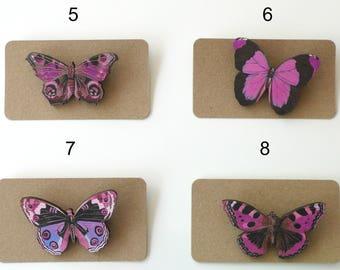 Pink Butterfly Brooch, Purple Butterfly Brooch, Tortoiseshell Butterfly Pin, Wooden Laser Cut Butterfly Jewelry, Insect Lapel Pin