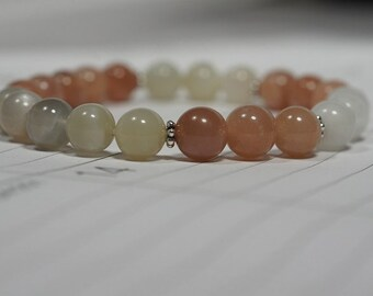 Moonstone Bracelet, Chakra Bracelet,  Yoga Bracelet, Crystal Chakra, Wrist Mala Bracelet Genuine Moonstone Bracelet