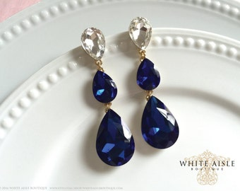 Sapphire Blue Wedding Earrings, Crystal Bridal Earrings, Statement Earrings, Dangle Earrings, Drop Earring, Vintage Inspired, Bridal Jewelry