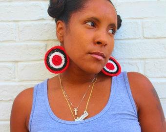 Black, White, and Red All Over Crochet Earrings