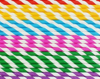 Paper Straws 24 Rainbow Striped Straws My Little Pony Favors Rainbow Birthday Party Favors Baby Shower Favors Rainbow Straws Rainbow Party