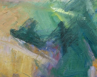 Umbria GICLEE ART PRINT 17 x 11 abstract landscape Italy sage green light orange lavender