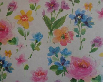 Vintage Gift Wrap Paper 1970s All Occasion Floral Print Wrapping Paper-Fresh Floral 1 Sheet