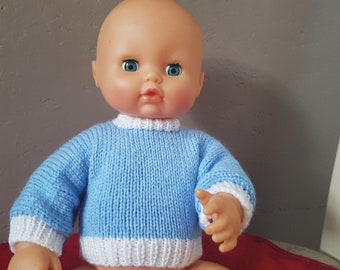 Blue jumper hand knitted doll