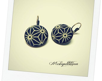 Japanese traditional fabric cabochon earrings