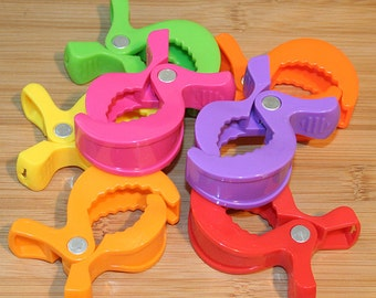 7pc Alligator Pram Clip / Clamp / Pram attachment - Rainbow Pack for baby toys / dolls / blankies ROOYGPP